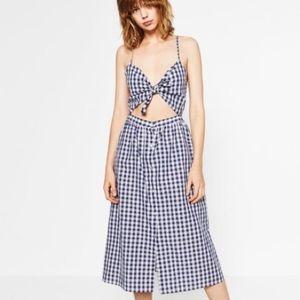 Zara Blue White gingham tie front midi dress